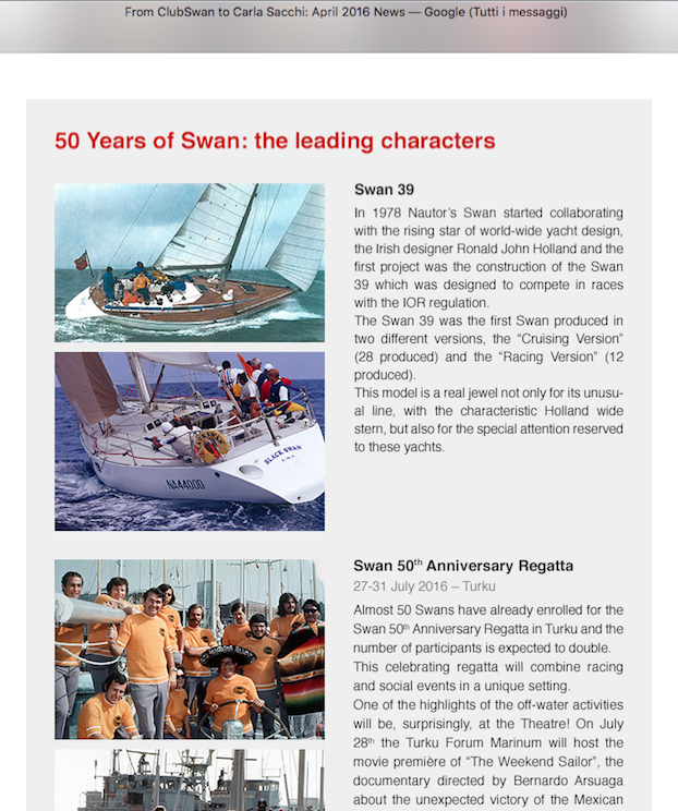 SWAN 39 Ron Holland SwanNewsLetterApril2016